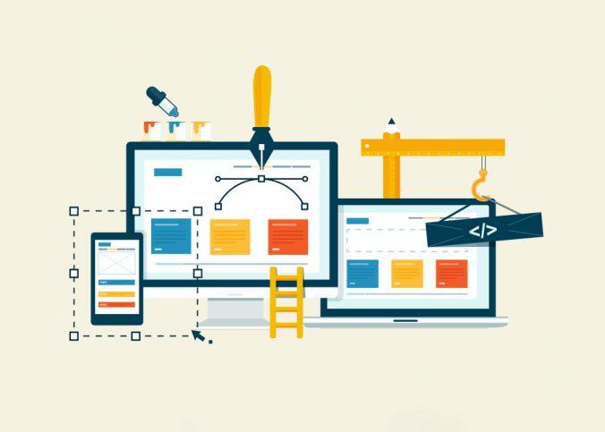 Ilustração da criação de um site em diferentes tipos de telas | Site mobile ou site responsivo? - Superbiz